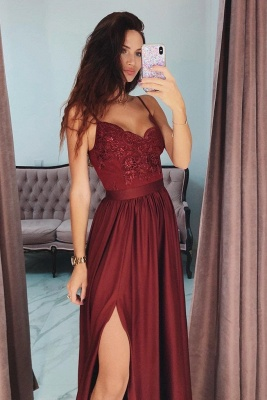 Applique Spaghetti-Strap Prom Dresses Side slit Sleeveless Sexy Evening Dresses with Beads_2