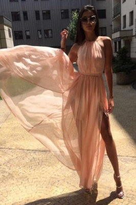 Chic Sheer Halter Ribbons Prom Dresses Side slit Overskirt Bowknot Sleeveless Sexy Evening Dresses_4