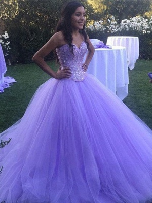Gorgeous Crystal Sweetheart Applique Prom Dresses Ball Gown Sleeveless Sexy Evening Dresses_2