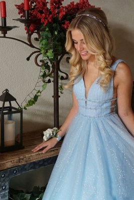 Gorgeous Sequins Straps Tulle Prom Dresses | Ball Gown Sleeveless Sexy Evening Dresses with Beads_3