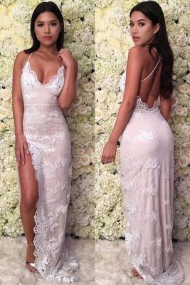 Applique Halter Prom Dresses Side Split Lace-Up Sleeveless Sexy Evening Dresses_2
