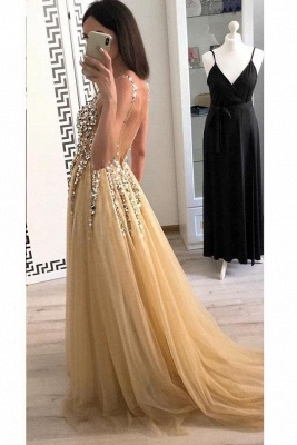 Chic Applique V-Neck Crystal Prom Dresses Backless Sleeveless Sexy Evening Dresses_3