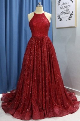 Chic Sequins Ruffles Halter Prom Dresses Sleeveless Sexy Evening Dresses with Beads_2