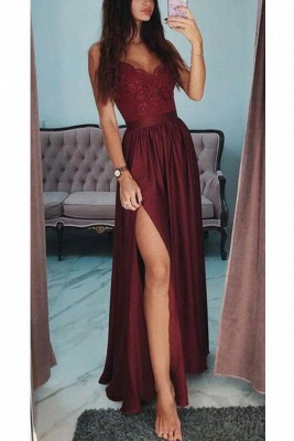 Applique Spaghetti-Strap Prom Dresses Side slit Sleeveless Sexy Evening Dresses with Beads_3