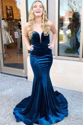 Sweetheart Lace Up Prom Dresses Sleeveless Mermaid Ruffles Sexy Evening Dresses_1