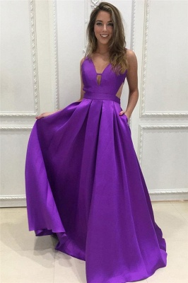 Gogerous V-Neck Sequins Prom Dresses Ruffle Backless Sleeveless Sexy Evening Dresses_1