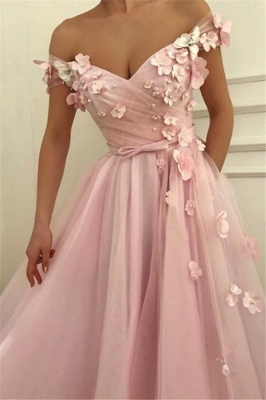 Pink Flower Off-the-Shoulder Prom Dresses Sleeveless Beads Sexy Evening Dresses with Belt_3