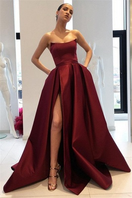 Burgundy Strapless Ruffles Prom Dresses Sleeveless Side Slit Sexy Evening Dresses with Pocket_1