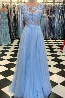 Chic Jewel Applique Prom Dresses Sleeveless Tulle Sexy Evening Dresses with Belt_1