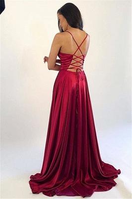 Spaghetti Strap Lace Up Prom Dresses Side Slit Sleeveless Sexy Evening Dresses_3