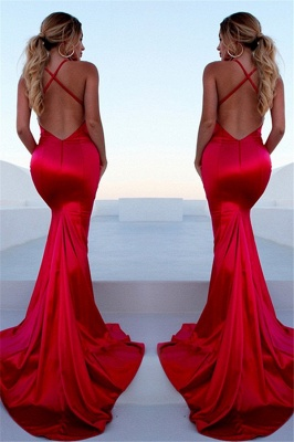 Chic Red Halter Lace Up Prom Dresses Sleeveless Ruffles Mermaid Side Slit Sexy Evening Dresses_2