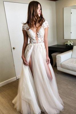 V-Neck Applique Prom Dresses Sheer Sleeveless Sexy Evening Dresses_5