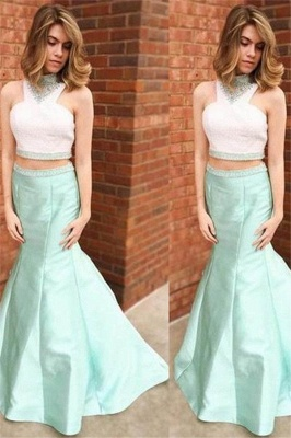 Chic Halter Crystal Mermaid Prom Dresses Two Piece Ruffles Sleeveless Sexy Evening Dresses_1
