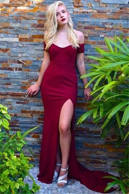 Burgundy Off-the-Shoulder Prom Dresses Side Slit Mermaid Sleeveless Sexy Evening Dresses_1