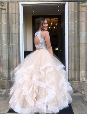 Sequins Jewel Sheer Prom Dresses Two Piece  Sleeveless Sexy Evening Dresses_2