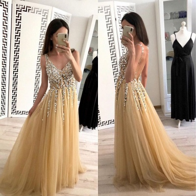 Chic Applique V-Neck Crystal Prom Dresses Backless Sleeveless Sexy Evening Dresses_2