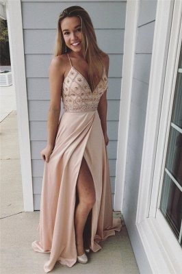 Chic Spaghetti-Strap Crystal Prom Dresses Side slit Sleeveless Sexy Evening Dresses with  Beads_1