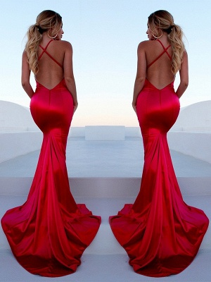 Chic Red Halter Lace Up Prom Dresses Sleeveless Ruffles Mermaid Side Slit Sexy Evening Dresses_3