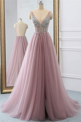 Pink V-Neck Applique Crystal Prom Dresses Sheer Side slit Backless Sleeveless Sexy Evening Dresses_1
