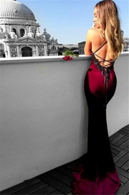 Lace Up Halter Applique Sleeveless Prom Dresses Mermaid Cheap Popular Sexy Evening Dresses_4