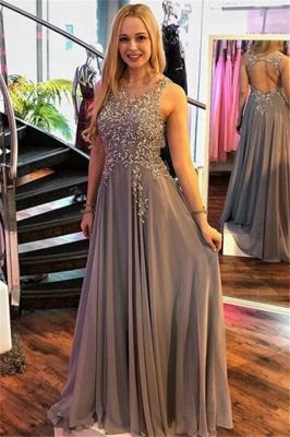 Chic Jewel Crystal Sleeveless Prom Dresses Ruffles Cheap Popular Sexy Evening Dresses_1