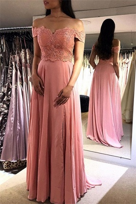 Chic Pink Off-the-Shoulder Prom Dresses Applique Cheap Sleeveless Sexy Evening Dresses_1