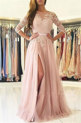 Chic Applique Long Sleeves Prom Dresses Open Back Jewel Side Slit Sexy Evening Dresses with Belt_1