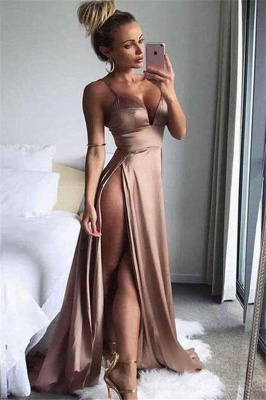 Spaghetti Strap Sleeveless Prom Dresses Side Slit Cheap Sexy Evening Dresses_1