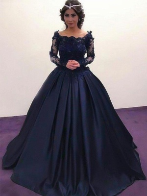 Lace Applique Bateau Long Sleeves Prom Dresses Ball Gown Sexy Evening Dresses with Beads_3