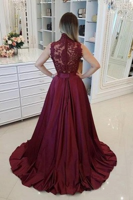 Burgundy High Neck Applique Prom Dresses Sleeveless Beads Sexy Evening Dresses with Belt_3