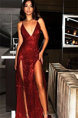 Spaghetti Strap Open Back Prom Dresses Sleeveless Side Slit Sexy Evening Dresses_2
