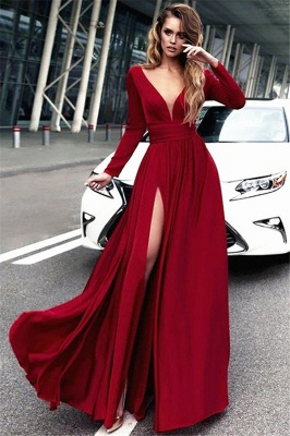 Red Long Sleeves Crystal Prom Dresses Open Back Side Slit Sexy Evening Dresses with Belt_1