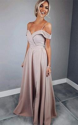 Chic Spaghetti Strap Prom Dresses Sleeveless Side Slit Sexy Evening Dresses Cheap_1