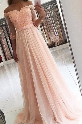 Side-Slit Lace V-Neck Prom DressesBlack Tulle Long Sleeves Sexy Evening Dresses CheapOff-the-Shoulder Beads Long Sleeves Prom Dresses Lace Tulle Sexy Evening Dresses with Belt_1