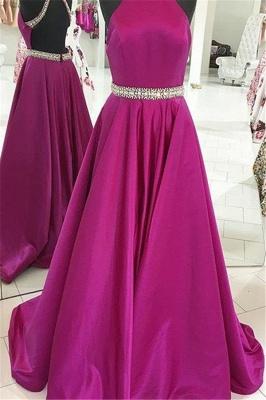 Crystal Halter Prom Dresses Ribbon Sleeveless Sexy Evening Dresses_2