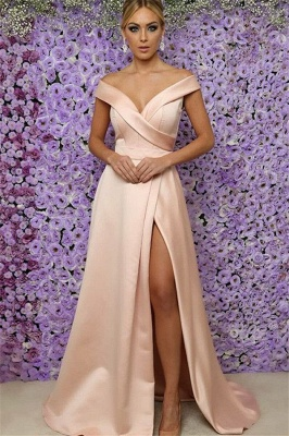 Off-the-Shoulder Prom Dresses Side Slit Sleeveless Sexy Evening Dresses Cheap_1