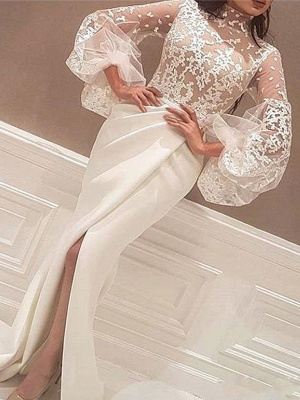 High Neck Lace Long Sleeves Prom Dresses Mermaid Ruffles Sexy Evening Dresses Cheap_2