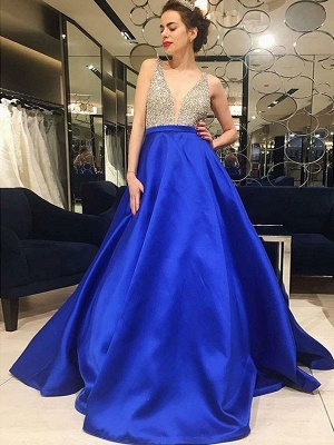 Chic V-Neck Crystal Prom Dresses Sleeveless Popular Sexy Evening Dresses Cheap_2