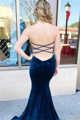 Sweetheart Lace Up Prom Dresses Sleeveless Mermaid Ruffles Sexy Evening Dresses_2