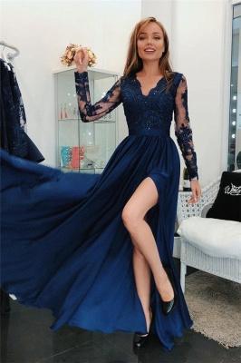 Applique V-Neck Prom Dresses Side slit Sleeveless Sexy Evening Dresses with Beads_1