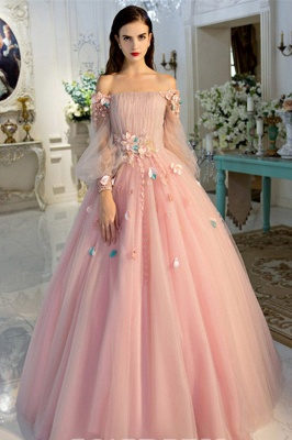 Glamorous Flower Off-The-Shoulder Applique Prom Dresses Lace-Up Ball Gown Longsleeves Sexy Evening Dresses_2