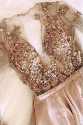 Chic Sequin V-Neck Applique Crystal Prom Dresses Side slit Longsleeves Sexy Evening Dresses_2