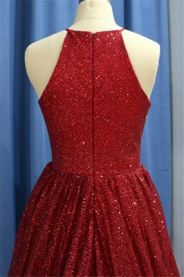 Chic Sequins Ruffles Halter Prom Dresses Sleeveless Sexy Evening Dresses with Beads_3