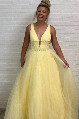 Gorgeous Sequins Straps Tulle Prom Dresses | Ball Gown Sleeveless Sexy Evening Dresses with Beads_4