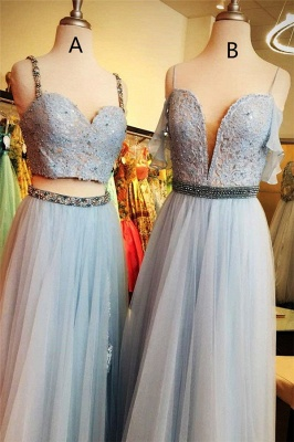 Applique Spaghetti-Strap Crystal Prom Dresses Two Piece Sleeveless Sexy Evening Dresses with beads_2