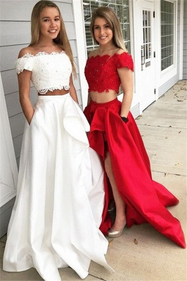 Chic Off-the-shoulder Two Piece Ruffles Prom Dresses Beads Lace Side Slit Sexy Evening Dresses with Pocket_2