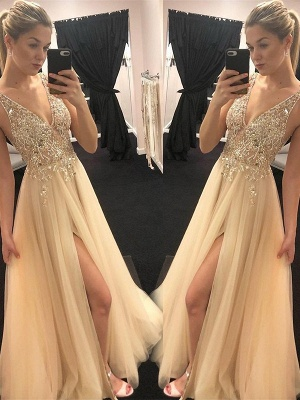 Chic Spaghetti Strap Sequins Crystal Prom Dresses Tulle Side Slit Sleeveless Sexy Evening Dresses_2