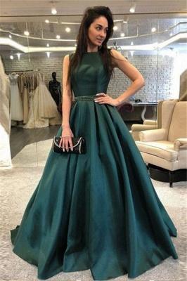 Dark-Green Open Back Prom dresses Sleeveless Beads Sexy Evening Dresses_1