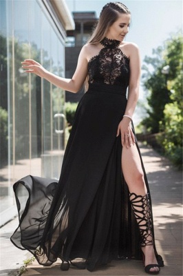 Black Lace Sleeveless Prom Dresses Tulle Side Slit Sexy Evening Dresses Cheap_2