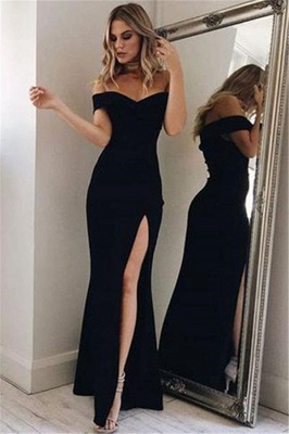 Chic Off-the-Shoulder Sequins Prom Dresses Side slit Mermaid Sleeveless Sexy Evening Dresses_1